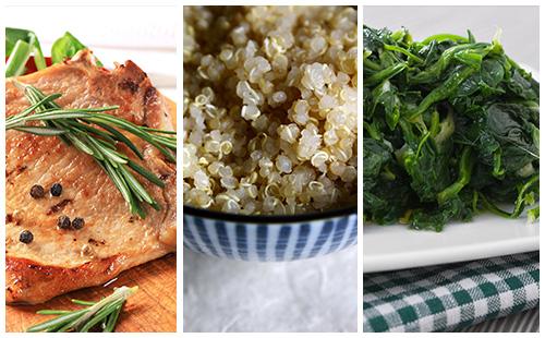Côte de porc au romarin, épinards et quinoa