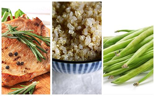 Côte de porc au romarin, haricots verts et quinoa