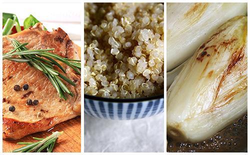 Côte de porc au romarin, quinoa et endives braisées