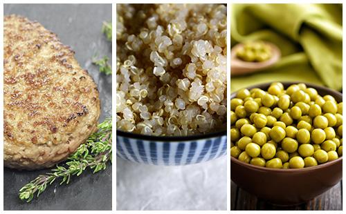 Steak haché aux petits pois et quinoa