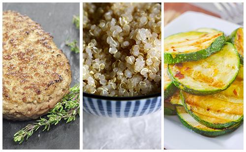 Steak haché et quinoa aux courgettes sautées