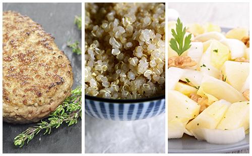 Steak haché, quinoa et salade d'endive