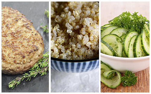 Steak haché, quinoa et salade de concombre