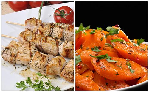 Brochette de porc et carottes