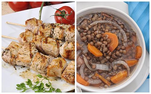Brochette de porc et lentilles aux carottes