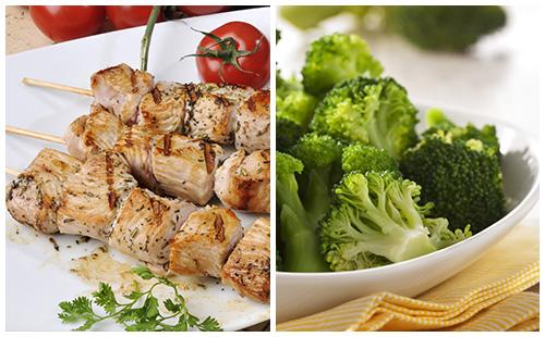 Brochette de porc et brocolis