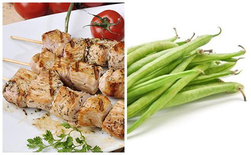 Brochette de porc et haricots verts