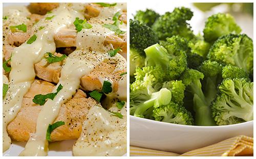 Aiguillettes de poulet à la crème et brocolis