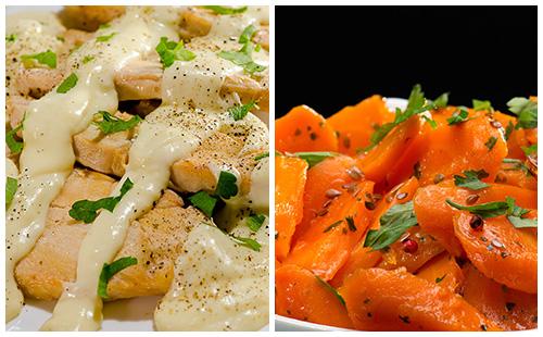 Aiguillettes de poulet à la crème et carottes