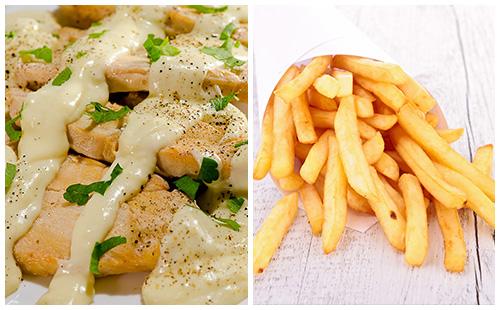 Aiguillettes de poulet à la crème et frites