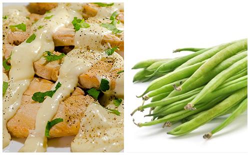 Aiguillettes de poulet au Boursin et haricots verts