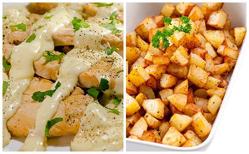 Aiguillettes de poulet à la crème et pommes rissolées