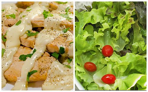 Aiguillettes de poulet à la crème et salade