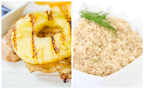 Côte de porc à l'ananas et quinoa