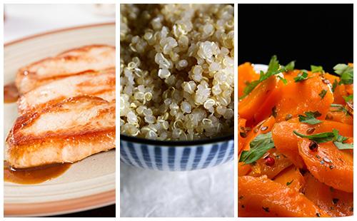 Côte de porc au quinoa et carottes