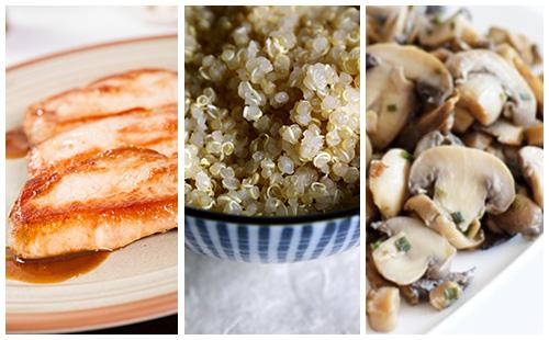 Côte de porc au quinoa et champignons poêlés
