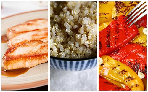 Côte de porc au quinoa et poivrons grillés