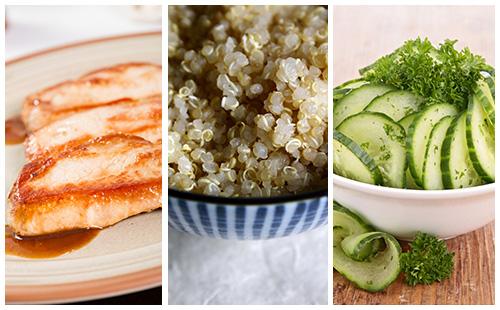 Côte de porc au quinoa et salade de concombre