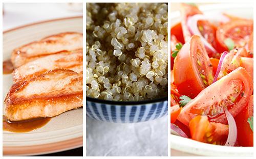 Côte de porc au quinoa et salade de tomates