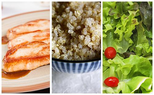 Côte de porc au quinoa et salade verte
