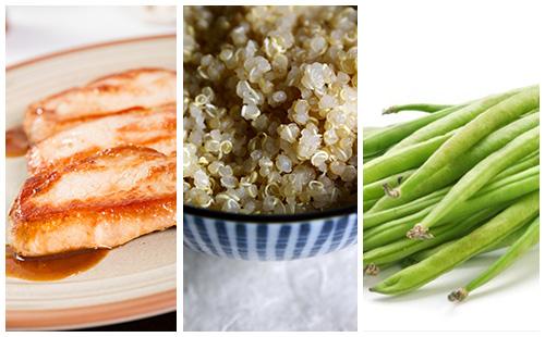 Côte de porc aux haricots verts et quinoa