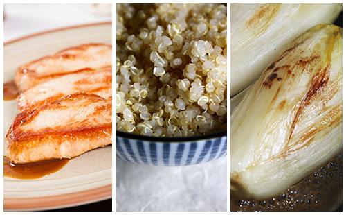 Côte de porc et quinoa aux endives braisées
