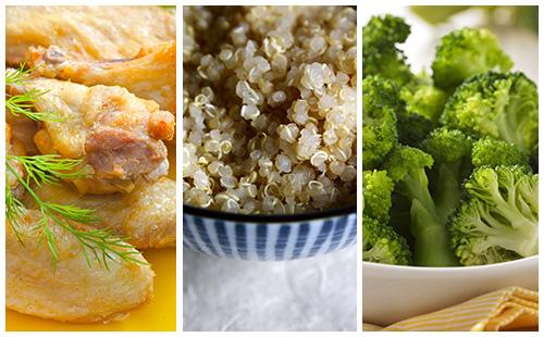 Pilons de poulet aux brocolis et quinoa