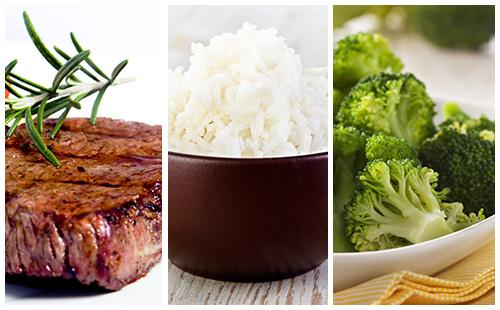 Bifteck aux brocolis et riz