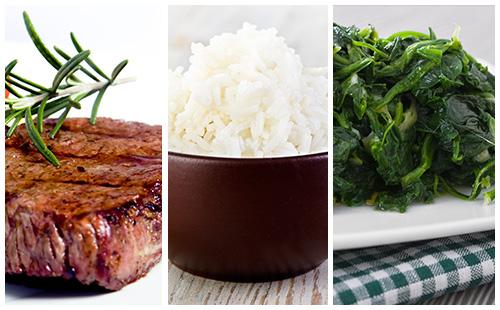 Bifteck aux épinards et riz