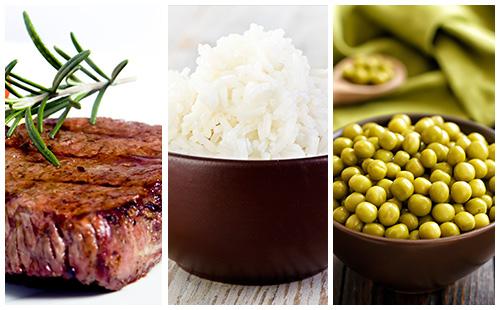 Bifteck aux petits pois et riz