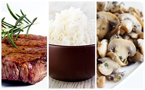 Bifteck, riz et champignons poêlés