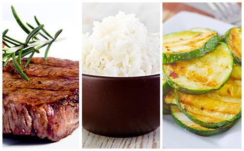 Bifteck, riz et courgettes sautées