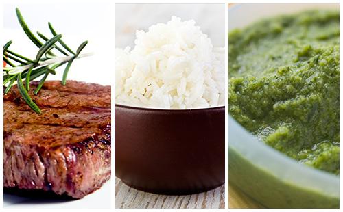 Bifteck, riz et purée de brocolis