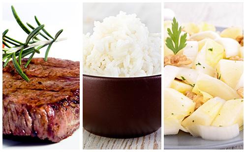 Bifteck, riz et salade d'endives