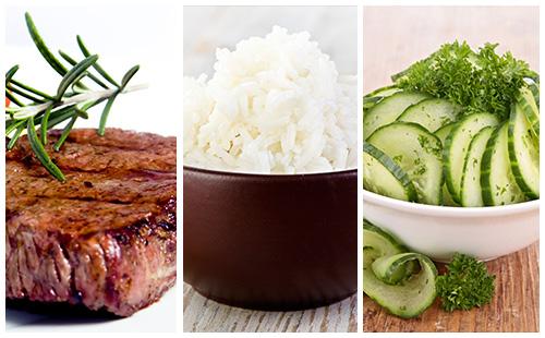 Bifteck, riz et salade de concombre