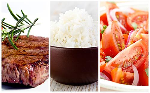 Bifteck, riz et salade de tomates