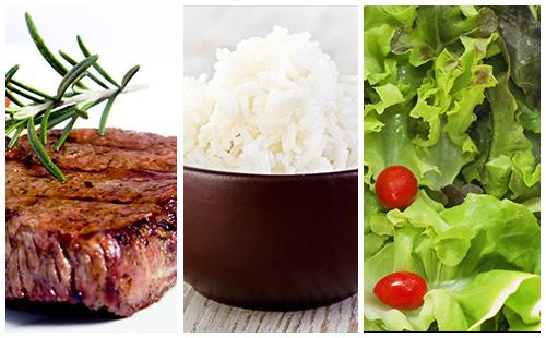 Bifteck, riz et salade verte