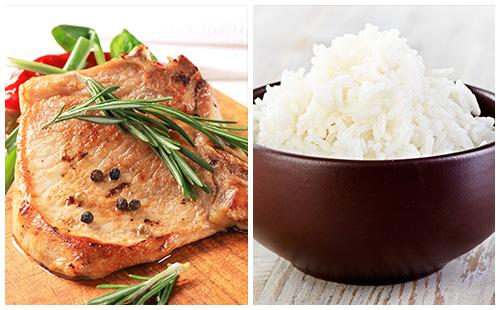Côte de porc au romarin et riz