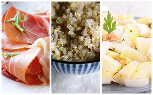 Quinoa au jambon cru et salade d'endives