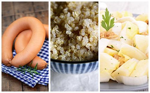 Quinoa aux saucisses et salade d'endives