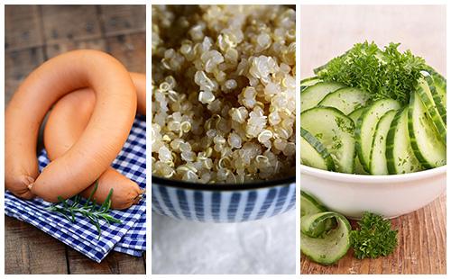 Quinoa aux saucisses et salade de concombre