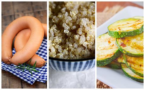 Quinoa aux saucisses et courgettes sautées