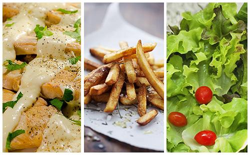 Aiguillettes de poulet à la crème, frites et salade