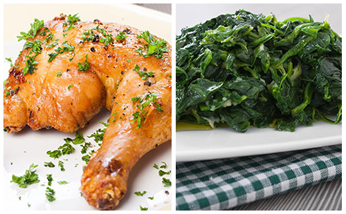 Wecook cuisses de poulet et pinards - Cuisse de poulet calories ...