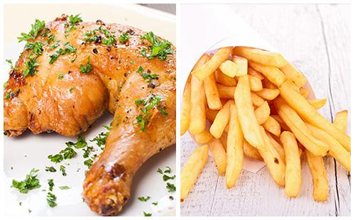 Cuisses de poulet et frites au four