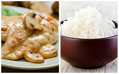 escalope de veau la cr me champignon paprika et riz. Black Bedroom Furniture Sets. Home Design Ideas
