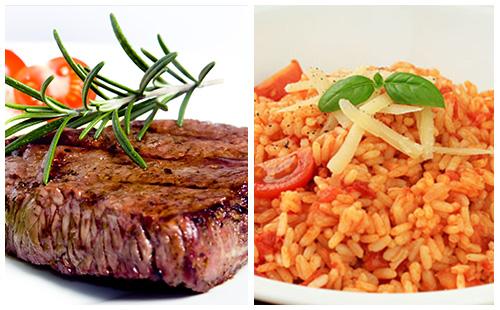 Bifteck et riz à la tomate