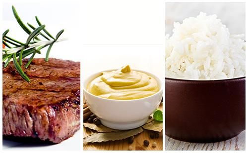 Bifteck, sauce moutarde et riz