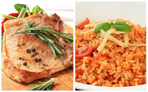 Côte de porc au romarin et riz à la tomate