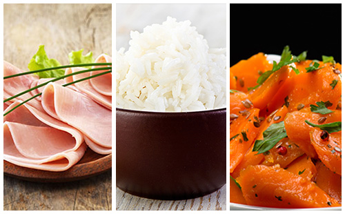 Jambon, riz et carottes